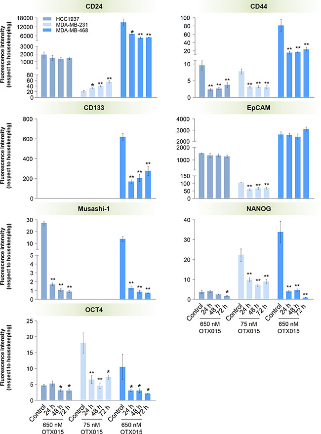 Effect of OTX015 on the expression of cancer stem cell markers in TNBC cell models.