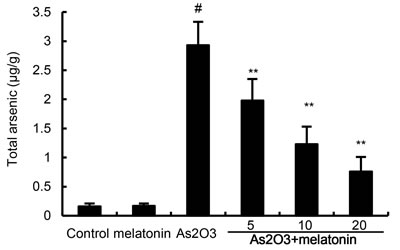 Effects of melatonin on As accumulation in liver tissues.