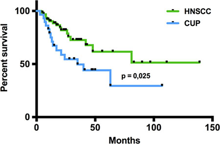 Overall survival of CUP and HNSCC patients.