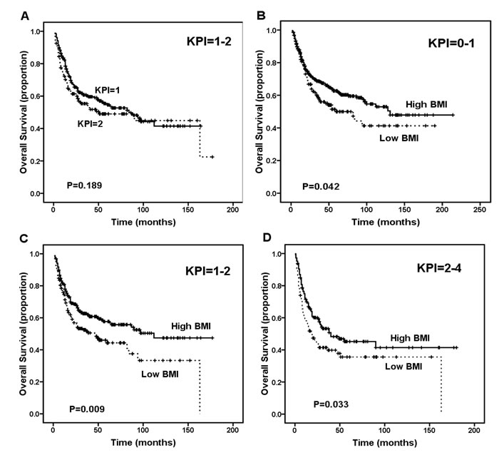 Survival outcome of patients according to the Korean Prognostic Index (KPI) score.