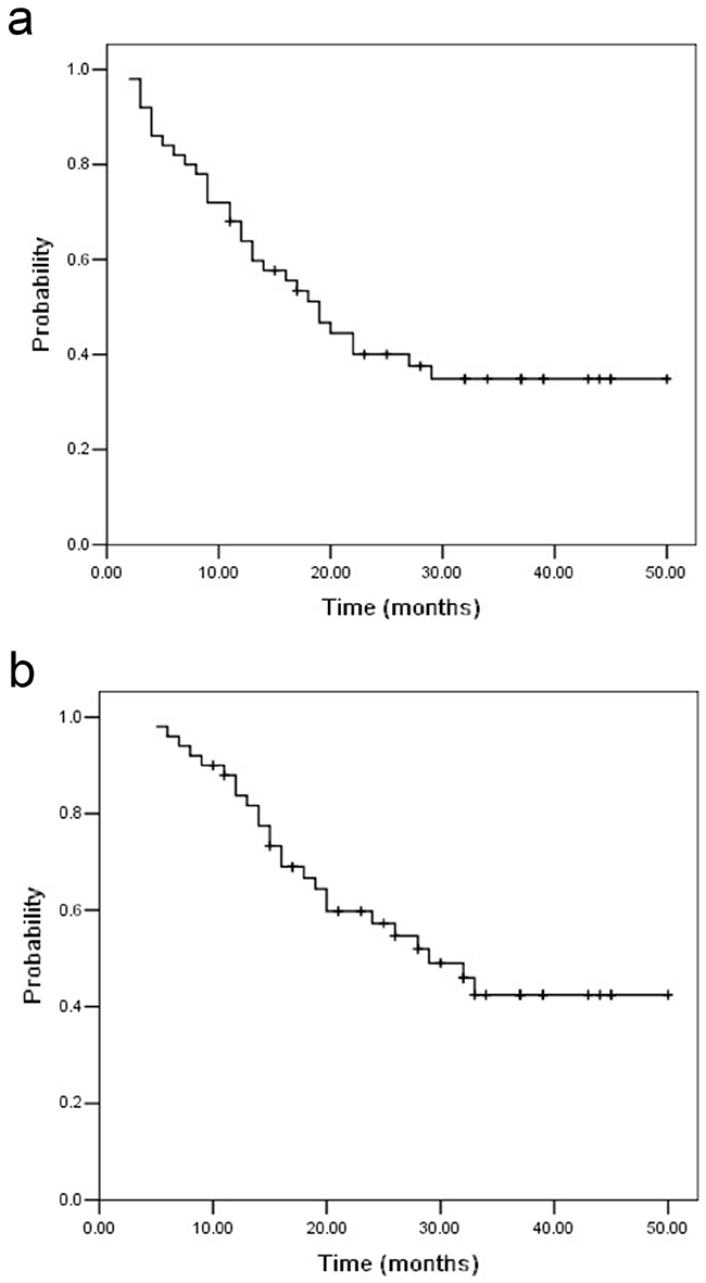 Progression-free survival a. and overall survival b. for UMT-ESCC patients with supraclavicular lymph node metastasis.