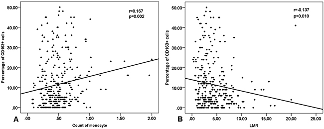 Spearman correlation between peripheral blood monocyte count, lymphocyte-to-monocyte ratio and the number of CD163+ M2 TAM (tumor-associated macrophages).