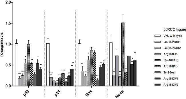 mRNA levels of TP53, p21, Bax, Noxa relative to VHL wild type transcription levels in ccRCC tissue samples carrying the VHL mutations selected for cell line experiments.