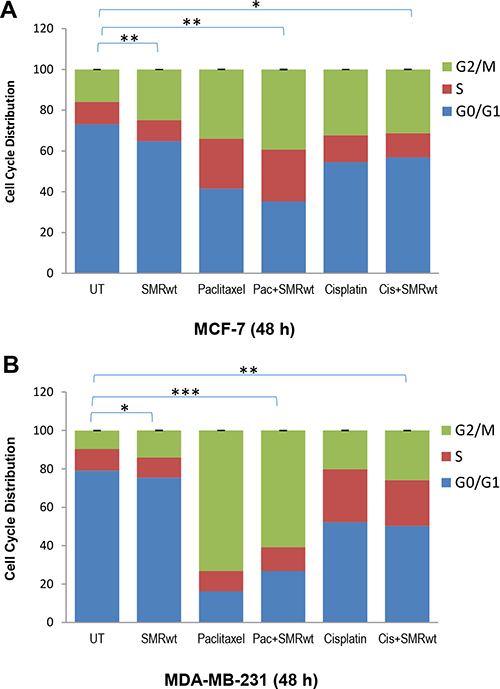 PEG-SMRwt-CLU peptide antagonist and chemotherapeutics induced cell cycle arrest in MCF-7 and MDA-MB-231 breast cancer cells.