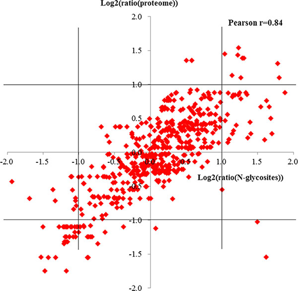 Pearson correlations of glycosites ratios against protein ratios.