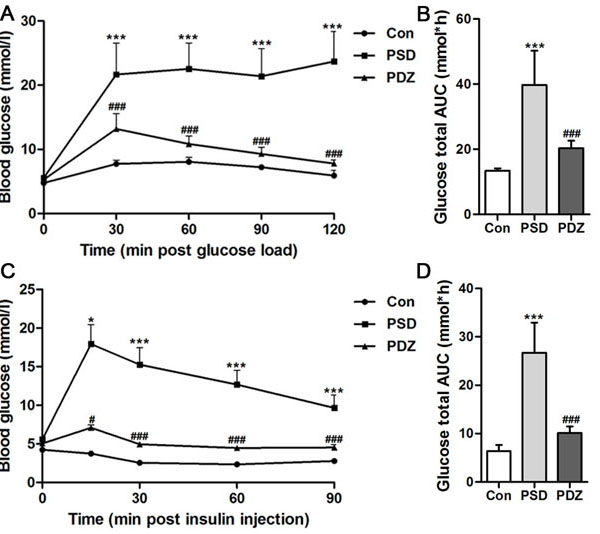 Effects of ZBPYR on glucose tolerance and insulin resistance in ZDF rats.