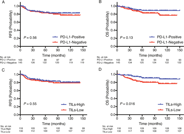 Prognostic value of PD-L1 expression and TILs status.