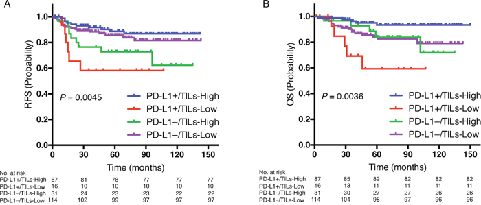 Prognostic value of the combination of PD-L1 expression and TILs status.