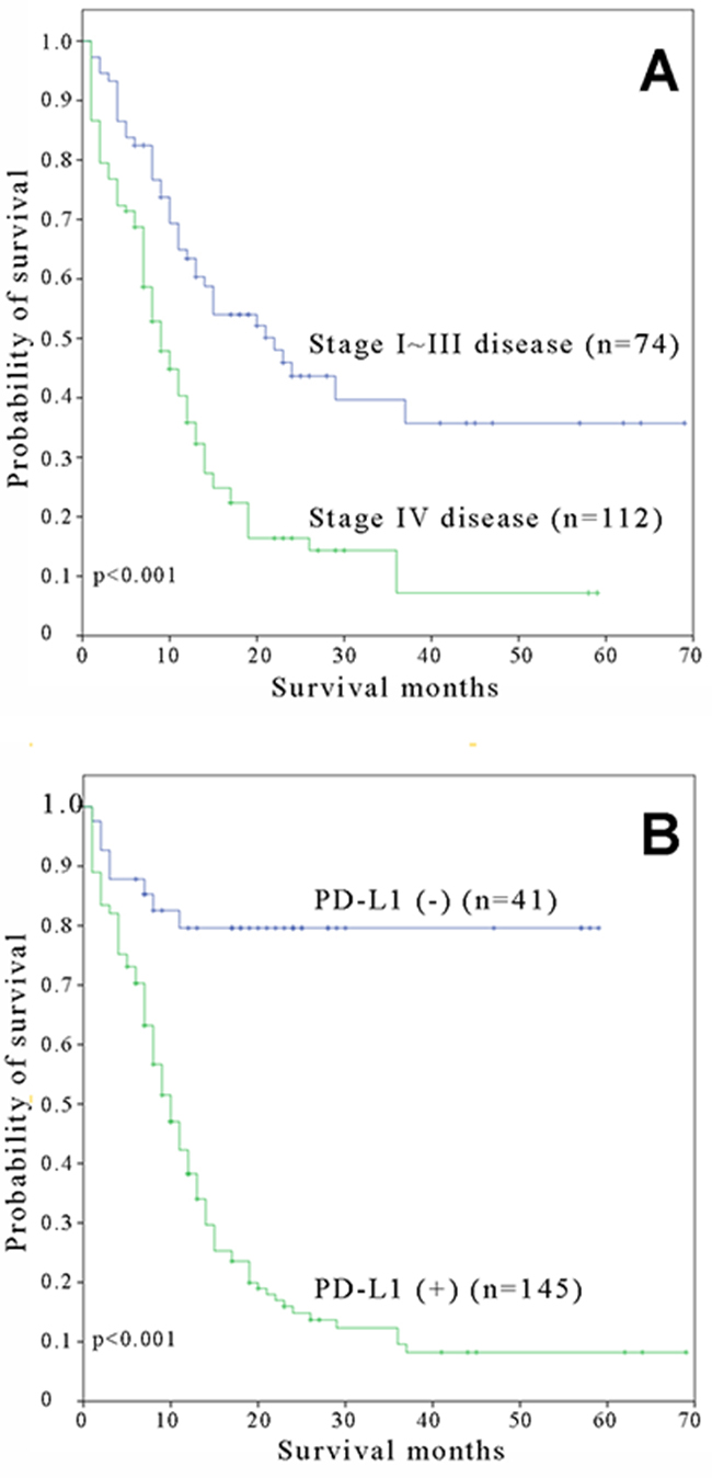Kaplan-Meier overall survival curves for small cell lung carcinoma patients with A. stage I-III and stage IV and B. positive and negative expressions of PD-L1.