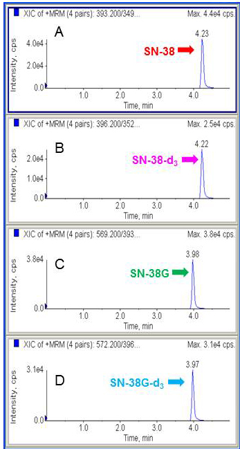 Representative chromatograms of SN-38, SN-38-d3, SN-38G and SN-38G-d3.