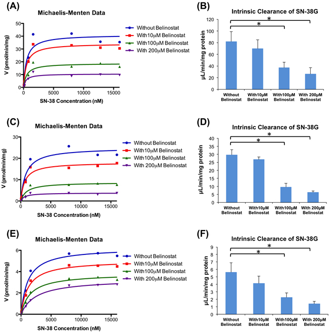 Enzyme kinetics of glucuronidation of SN-38 by human liver microsomes (HLM).