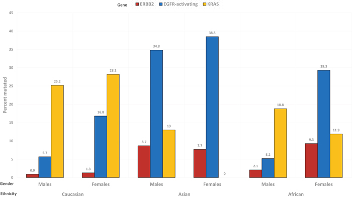 Prevalence of ERBB2 (red), EGFR-activating (blue) and KRAS (yellow) mutations, in the subgroups determined by gender and ethnicity.