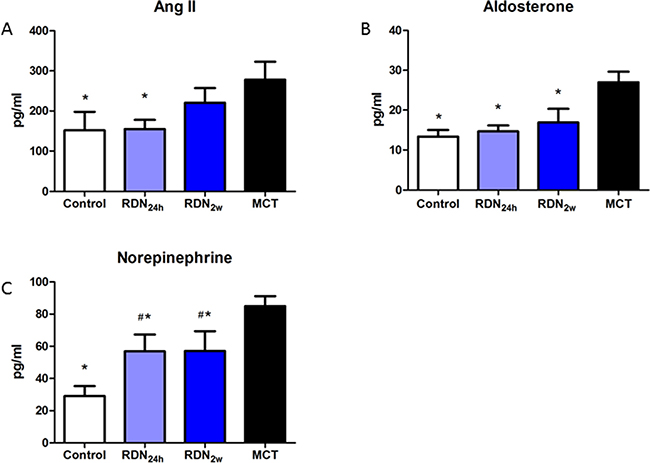 RDN Reduces RAAS and SNS activity effects of RDN on the changes of plasma Ang II.