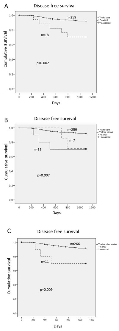 Disease free survival (DFS) for patients with HPV