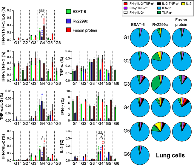Induction of antigen-specific multifunctional T cells in the lungs of mice after a challenge with Mtb HN878 strain.