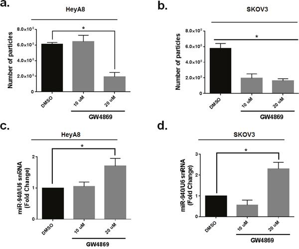 Neutral sphingomyelinase 2 inhibitor (GW4869) reduces exosomal miR-940 secretion in OC cells.