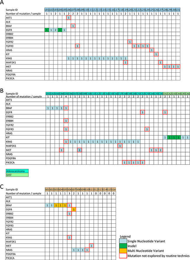Somatic mutations detected among the 130 tumor samples analyzable with the DSTP.