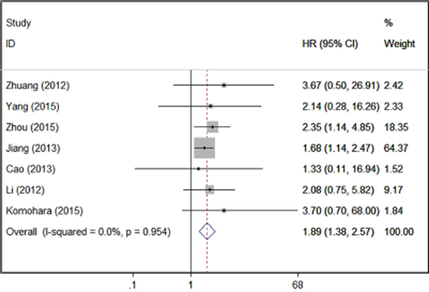 Forrest plots of studies evaluating TIM-3 expression level and patients' overall survival.