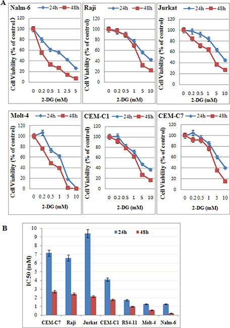 Low-dose 2-DG reduces cell viability in ALL cells under normoxia.