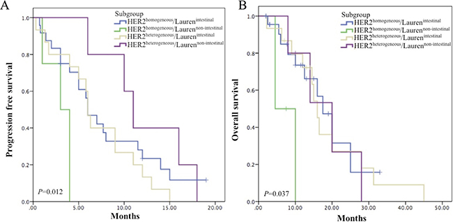 Survival analyses in subgroups by combining HER2 heterogeneity and Lauren classification.