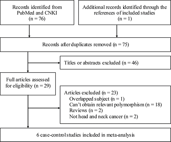 Flowchart of study section in the meta-analysis.
