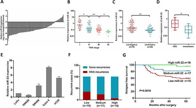 MiR-22 level is associated with CRC progression, metastasis and relapse.