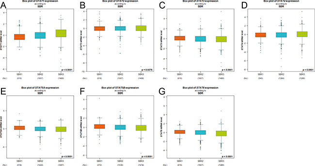 The relationship between mRNA expression of STAT factors and Scarff Bloom & Richardson grade status (SBR).