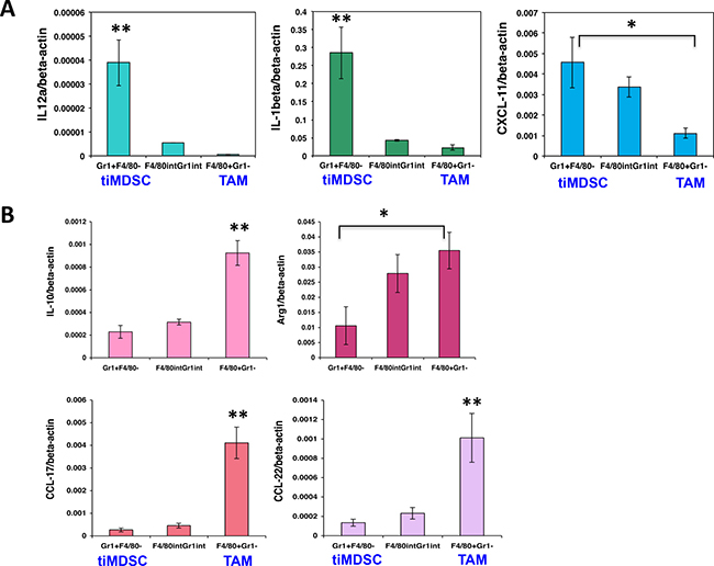 TiMDSC expresses higher levels of pro-inflammatory factors and lower levels of anti-inflammatory factors in EO771 breast tumors.