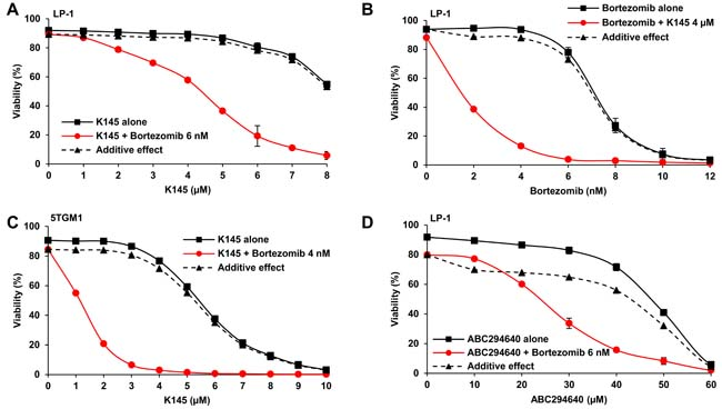 SK2 inhibition synergises with bortezomib.