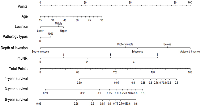 Nomogram predicting 1-year, 3-year and 5-year OS for resectable gastric cancer patients after curative resection.