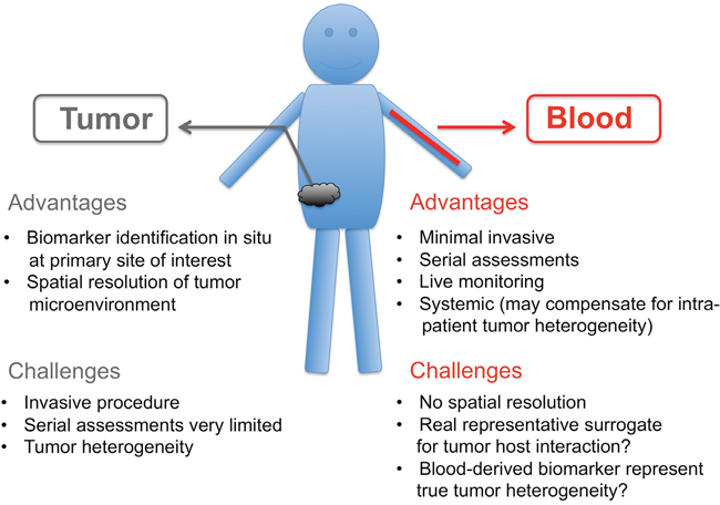 """Pros"" and ""Cons"" of tumor biopsies versus blood biopsies."