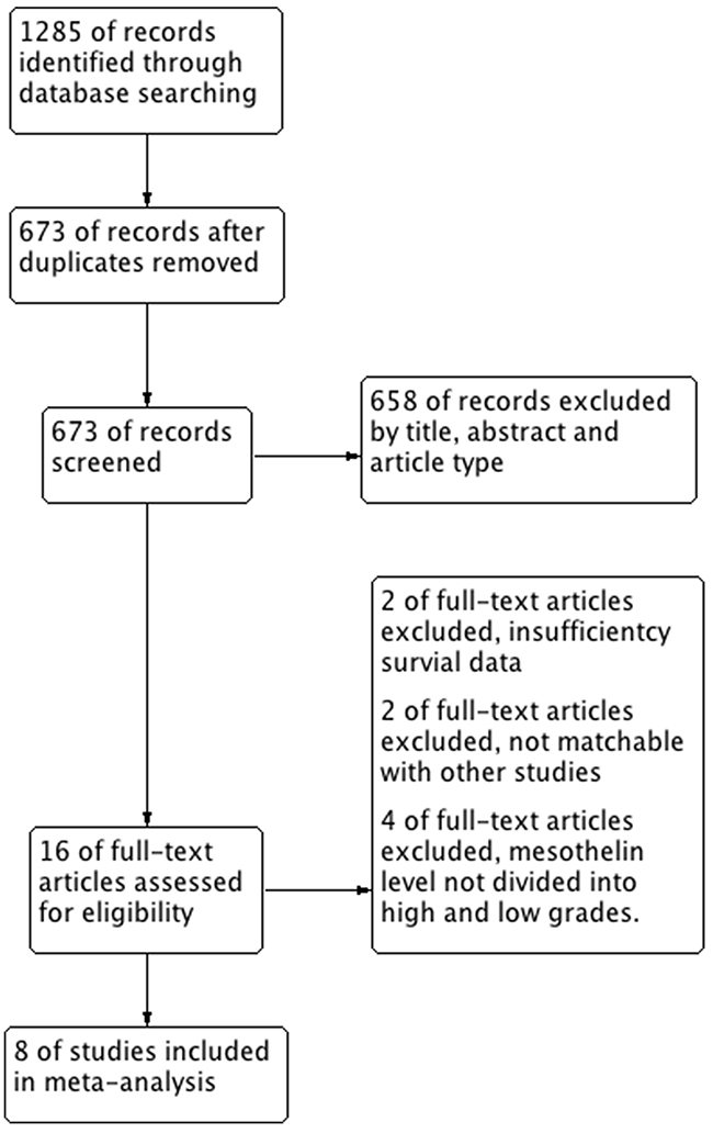 Flow chart of study selection in this meta-analysis.