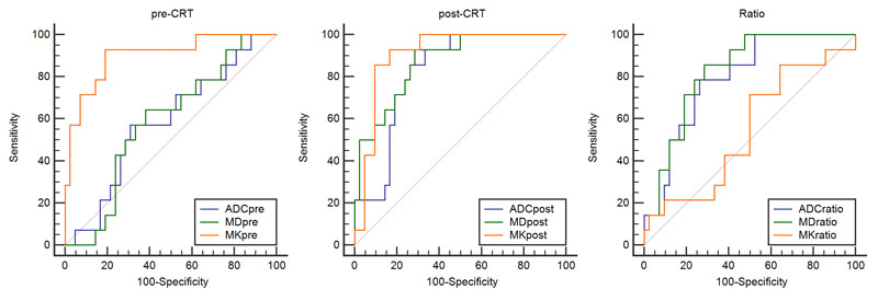 The receiver operating characteristic (ROC) curve analysis was performed to characterize each parameter for predicting the CRT outcome.
