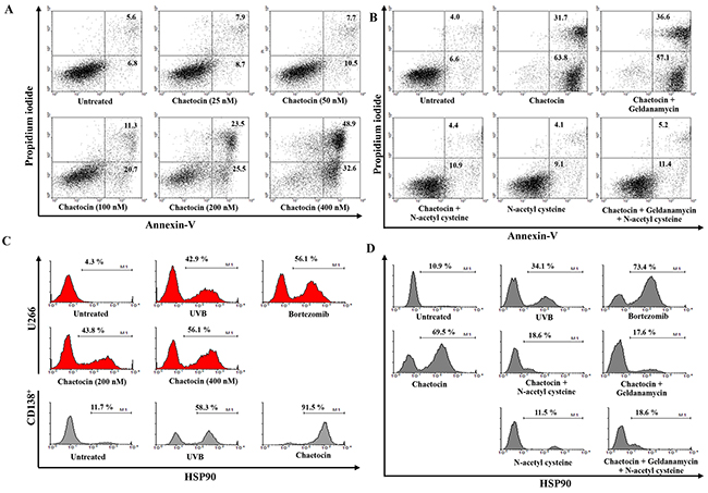 Chaetocin produces the highest expression of HSP90, MAGE-A3, and MAGE-C1/CT7 in dying myeloma cells.