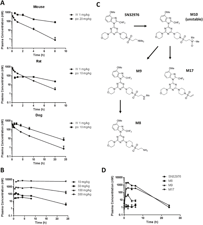 Plasma pharmacokinetics of SN32976 and its major metabolites.