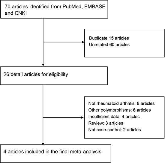Selection for eligible citations included in this meta-analysis.