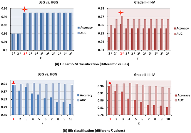 The influence of key model parameters for linear SVM and IBk classifiers.