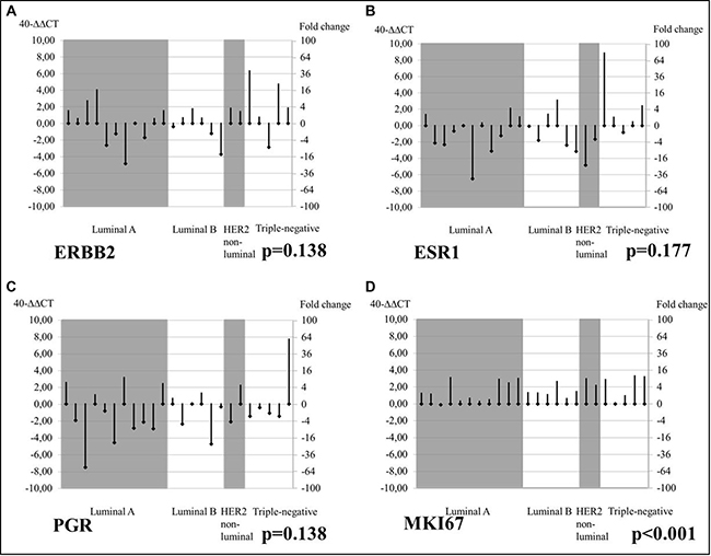 Changes from PT baseline in bone MT mRNA levels of tumor biomarkers, by tumor subtype.