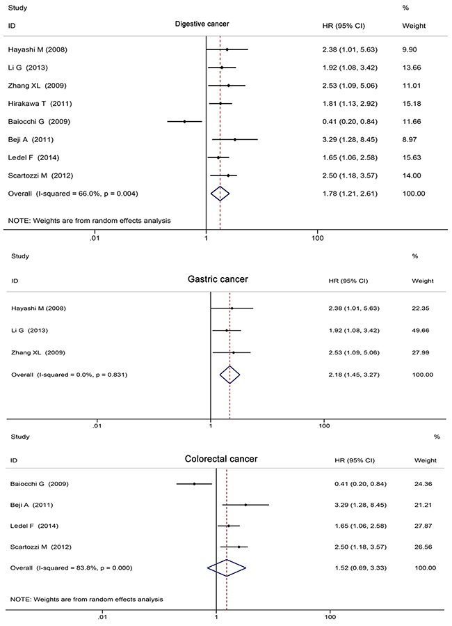 Digestive tumors subgroup analysis of HER3+ and survival.