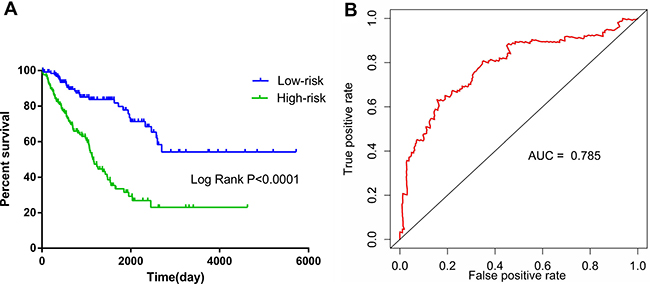 Kaplan–Meier and survival ROC curves for the ten-lncRNA signature in TCGA soft-tissue sarcoma cohort.
