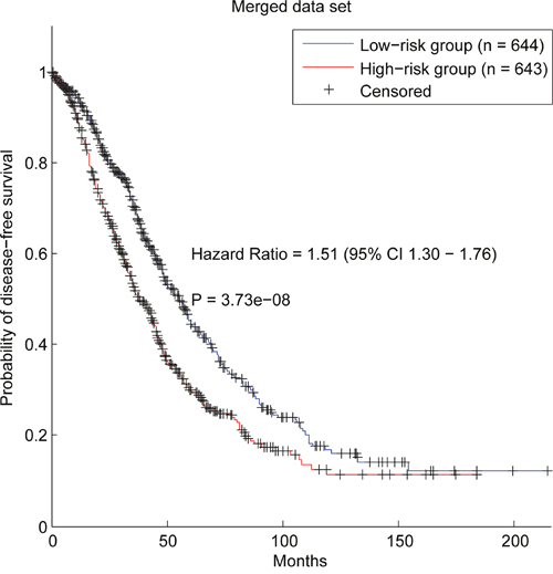 Survival analysis of patients divided by the prognostic genes in the merged data set.