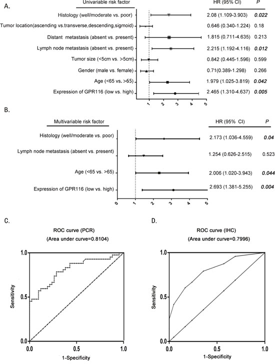 The potential value of GPR116 expression in predicting CRC and patient prognosis.