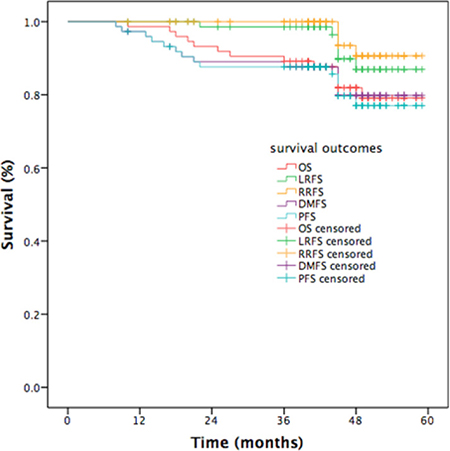 Kaplan-Meier curves of survival outcomes in patients with NPC