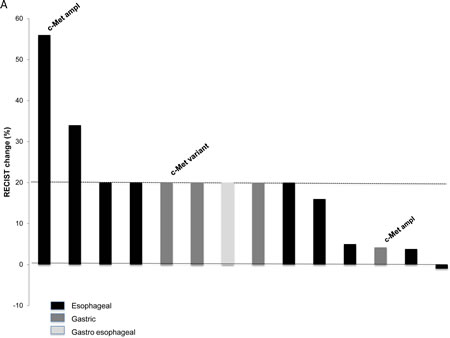 Waterfall plot showing responses (A) and PFS (B) of patients with gastroesophageal tumors treated on a phase I protocol including a