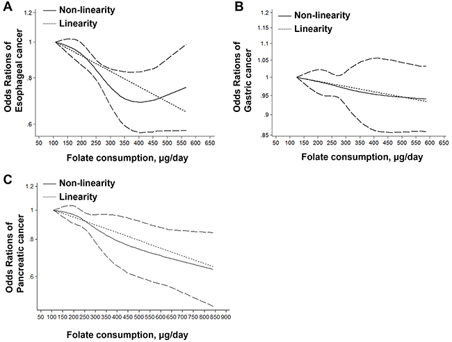 Linearity and non-linearity relationships between dietary folate intake and risk of esophageal cancer (A), gastric cancer (B) and pancreatic cancer (C).