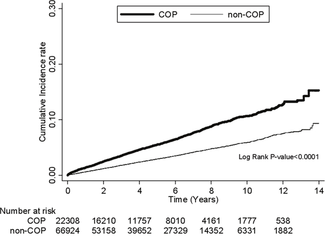 Comparison of the risk for DM between COP and non-COP patients by Kaplan-Meier's method and log-rank test.