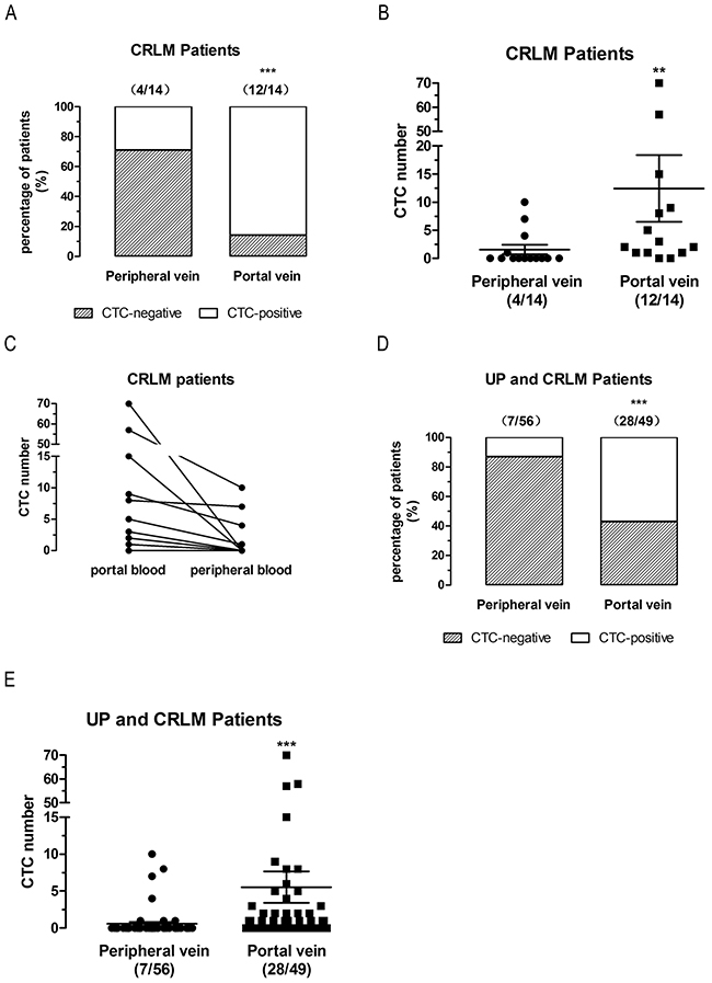 CTCs detection in first reflux vein blood is more sensitive than in peripheral blood in paired CRLM patients.