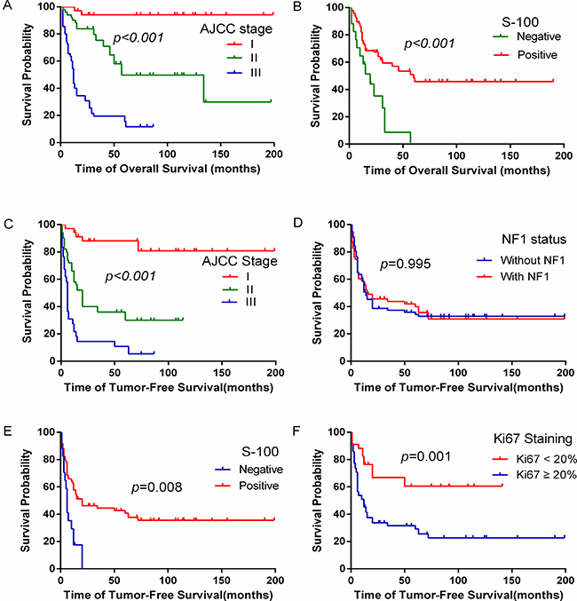 The effect of clinicopathological factors on overall survival and tumor-free survival of MPNST patients.