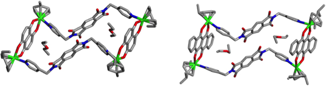 Single Crystal X-ray structures of metallacycles 4 and 5 with encapsulated guest diethyl ether molecules.