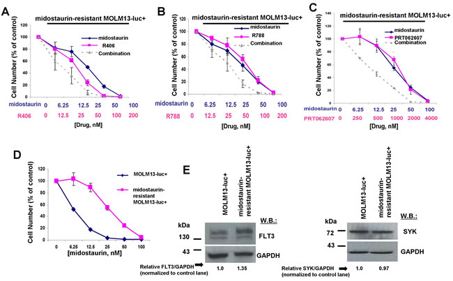 Potentiation of effects of midostaurin against FLT3 inhibitor-resistant cells by R406, R788, and PRT062607.